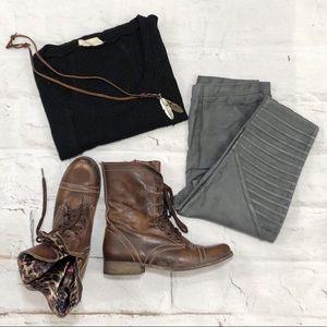 Gray Suede Moto Pants